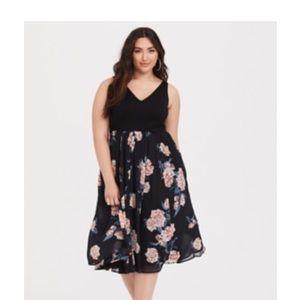 Torrid Black Ponte & Floral Midi Dress